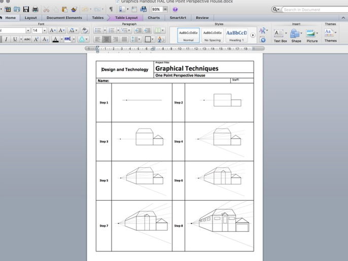 One Point Perspective House Worksheets