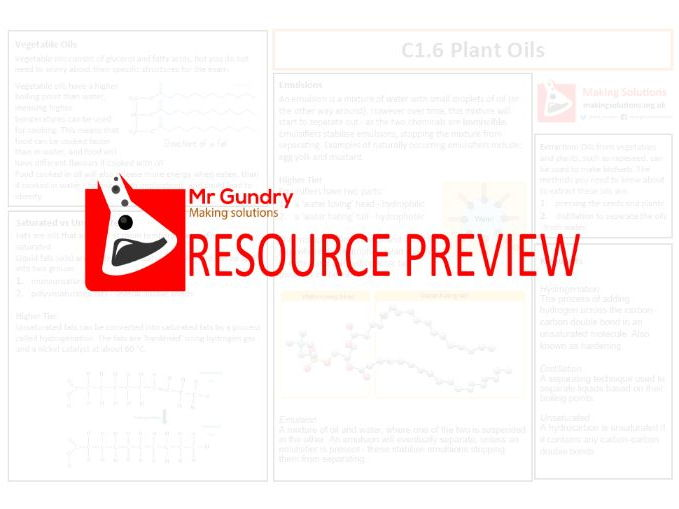 AQA C1.6 Plant Oils Revision Sheet