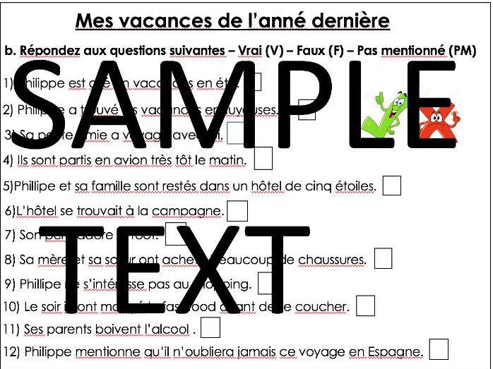 GCSE French - Holidays- Mes vacances de l'année dernière worksheet -  My holiday last year