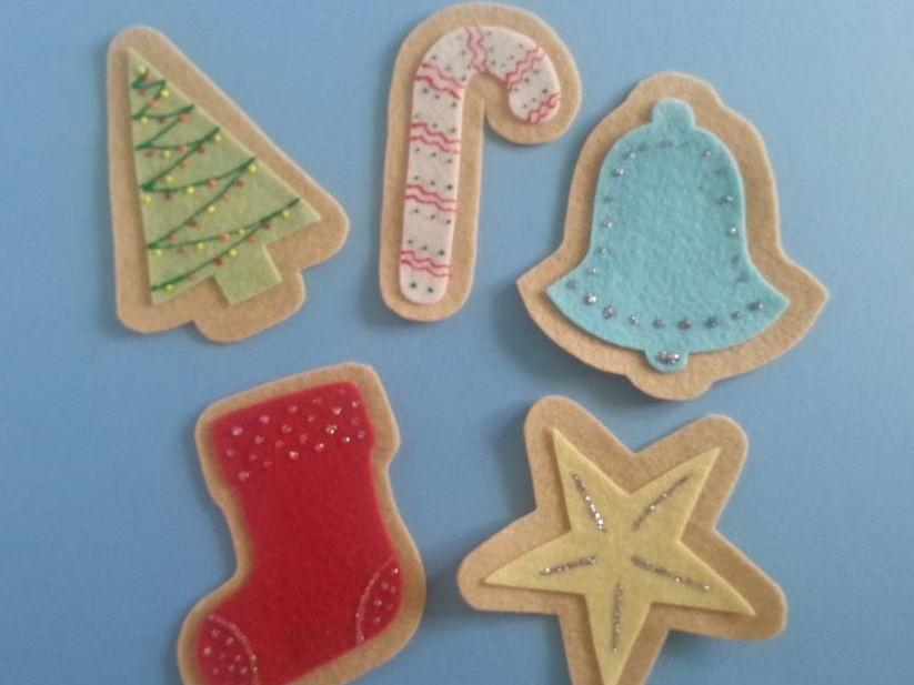 Five Christmas Cookies Felt Board Set Digital Pattern
