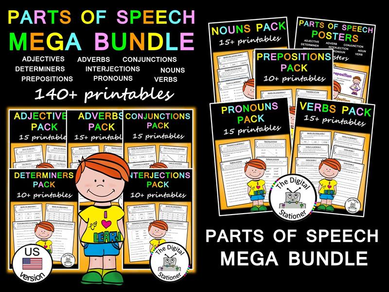 Parts of Speech (Word Classes) (US version) MEGA Bundle  - 140+ printables