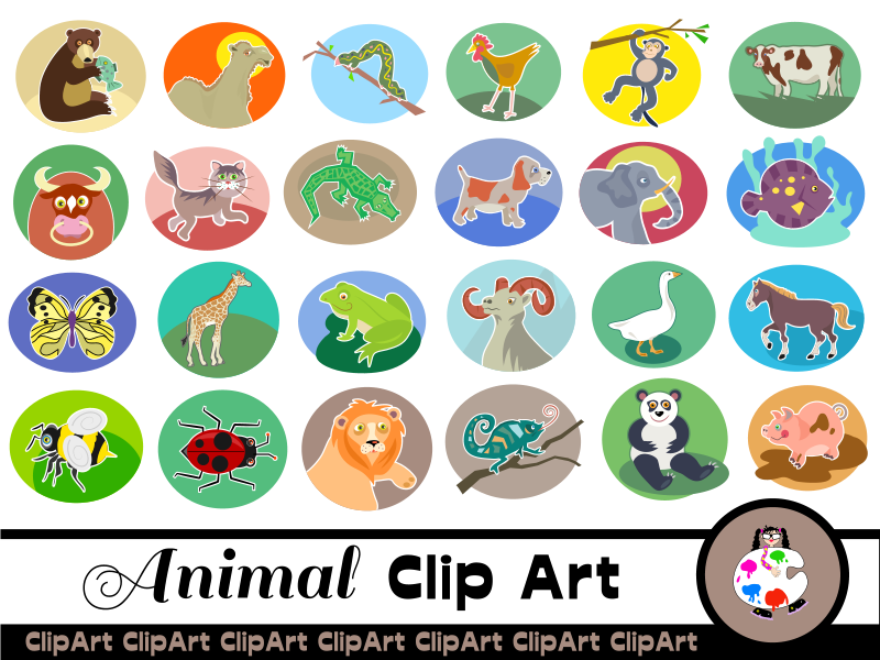 Wild Animal Clip Art Set