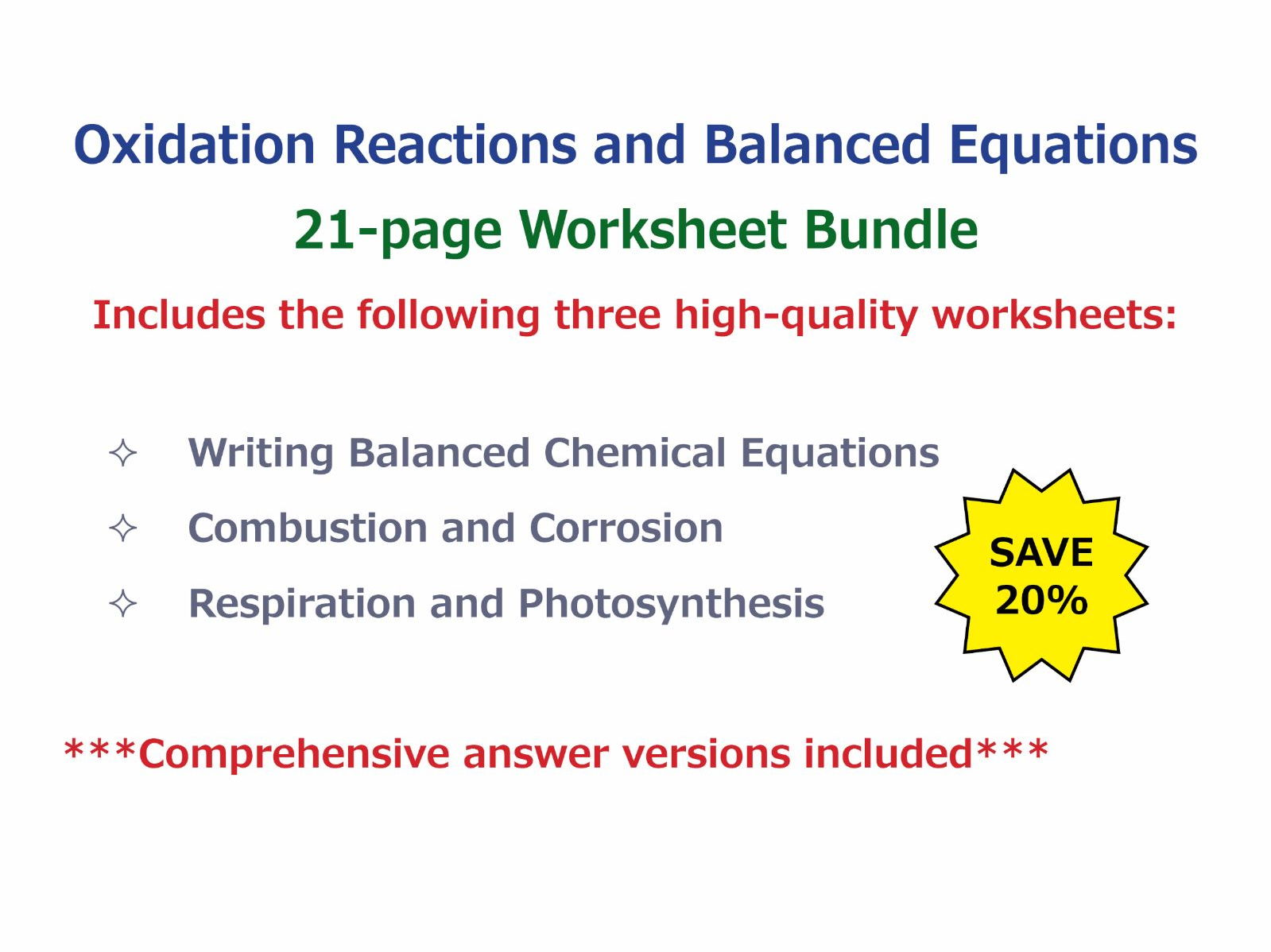 Oxidation reactions and balanced equations worksheet bundle by oxidation reactions and balanced equations worksheet bundle by goodscienceworksheets teaching resources tes robcynllc Gallery