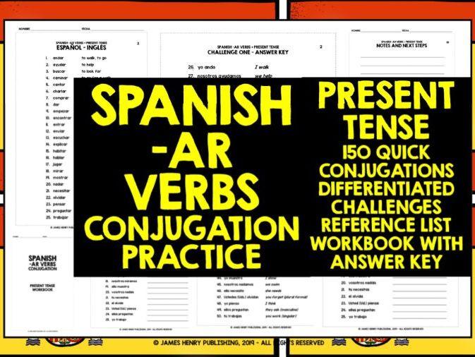 SPANISH -AR VERBS CONJUGATION PRACTICE #1