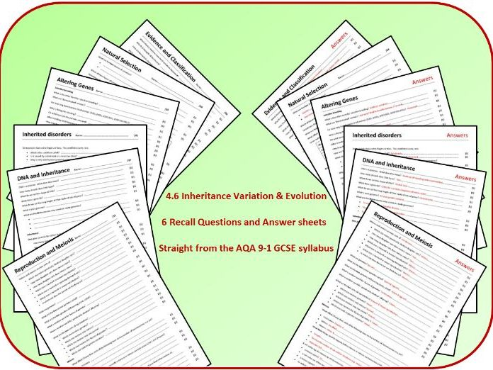 Topic 6: Inheritance, Variation and Evolution Revision Questions and Answer Sheets