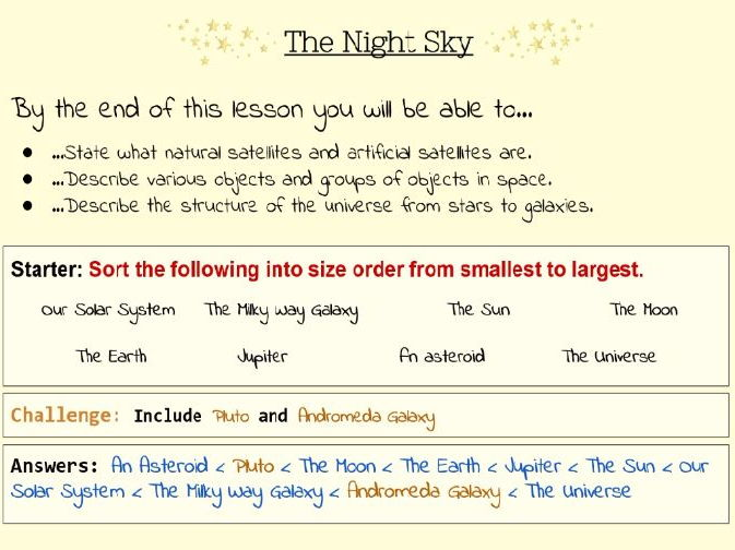 The Night Sky - Lesson and Worksheets