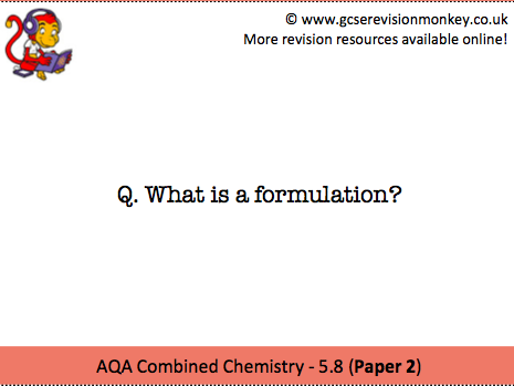Revision Cards - AQA Combined Chemistry 5.8