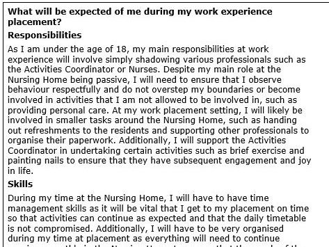 Health and Social Care Unit 6: Work Experience Log (Distinction)