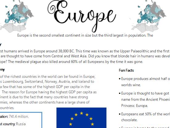 Fact File- Europe