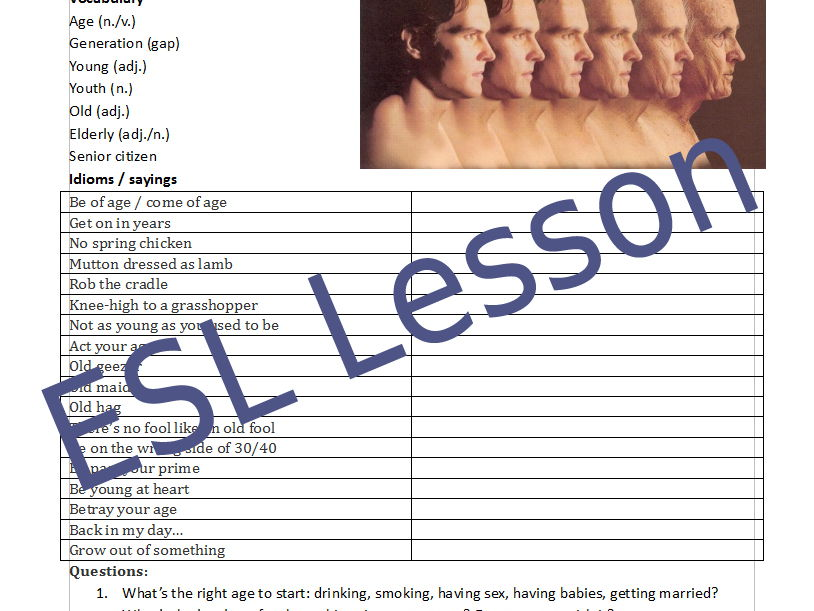Age - ESL English conversation handout / lesson plan