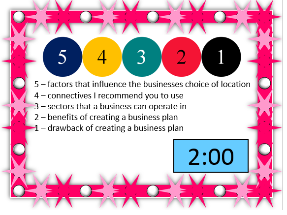 Retrieval activities for whole GCSE Business specification
