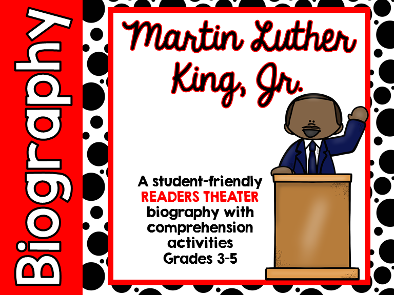Martin Luther King, Jr. readers theater with reading activity pages included