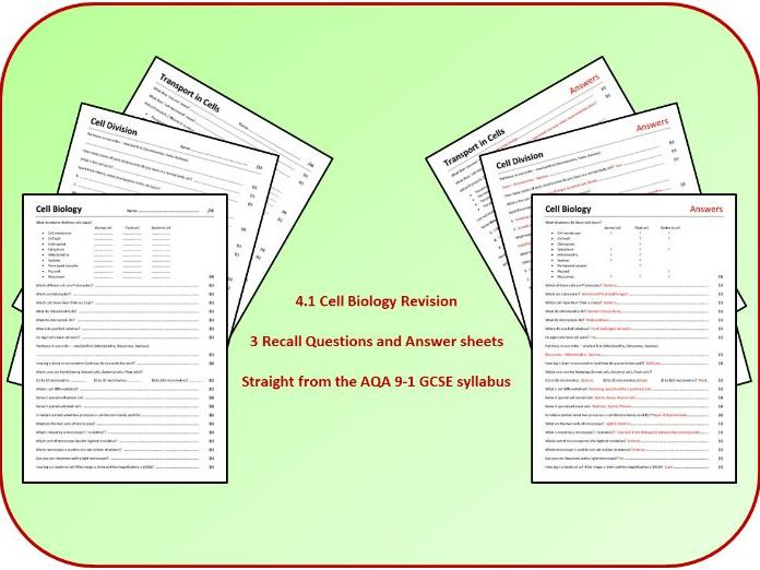 Topic 1: Cell Biology Revision Questions and Answer Sheets