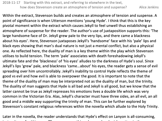 GCSE Dr Jekyll and Mr Hyde Level 9 Exemplar Essay Tension and Suspense
