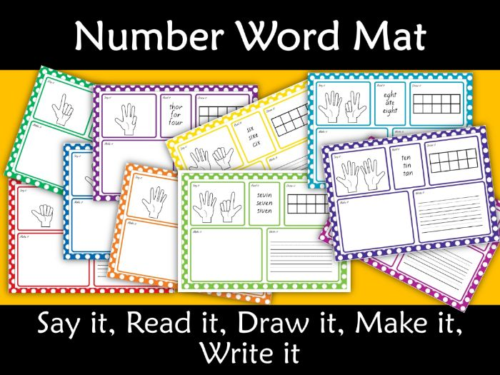 Number Mats 0-10 Say, Read, Draw, Make, Write it Polka Dot it