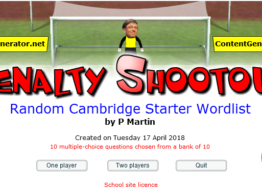 Starter or Plenary Game involving the Meaning of Cambridge English Starter Words.