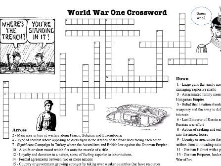 World War One Crossword Puzzle for Terms and Concepts