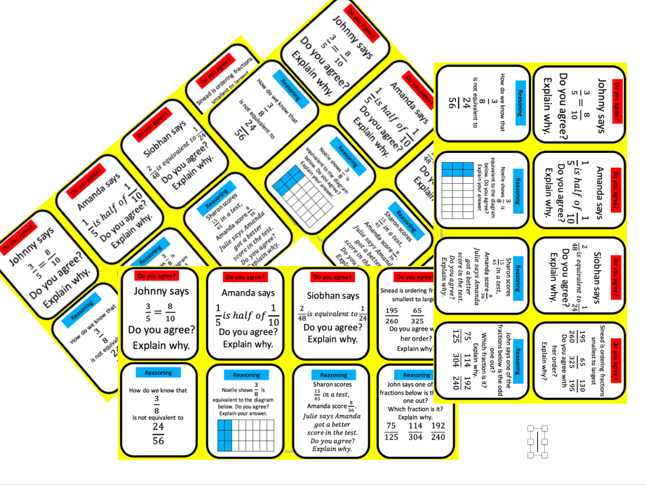 Reasoning cards equivalent fractions