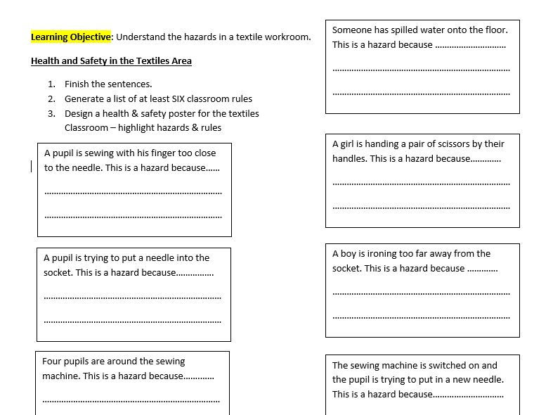 Textiles Health & Safety - Hazard Awareness Activity & Extension Task -Ideal starter lesson or COVER