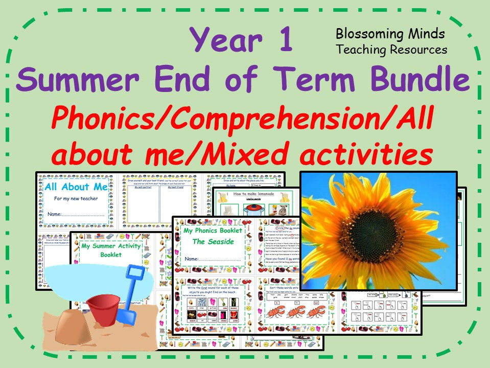Year 1 Summer End of Term Bundle - Phonics/Reading/General activities/All about me