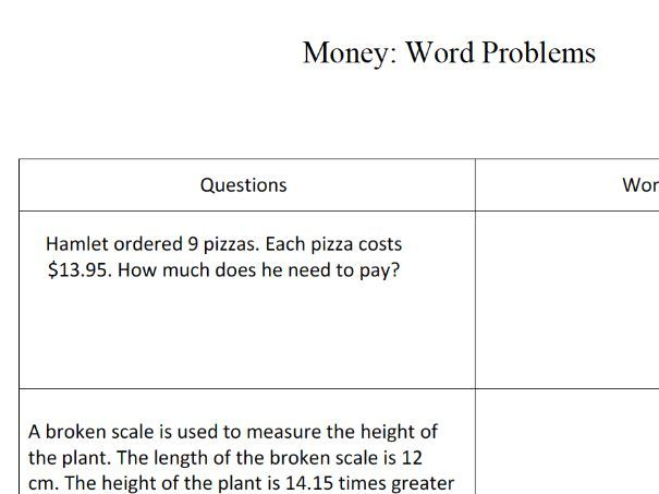 GCSE maths – money word problems worksheet