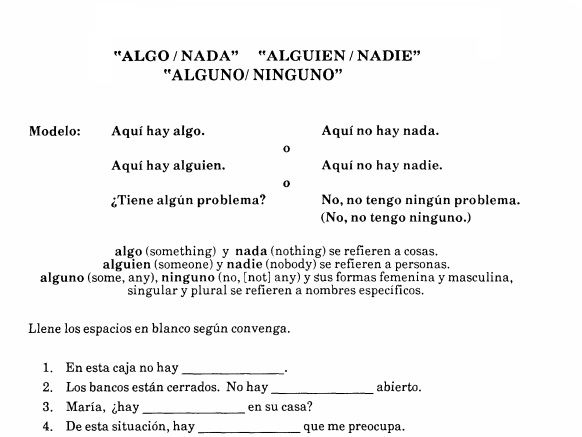 Spanish 3, Spanish 2- Algo, Nadie, Alguien, Nada, Alguno, Ninguno - Worksheet