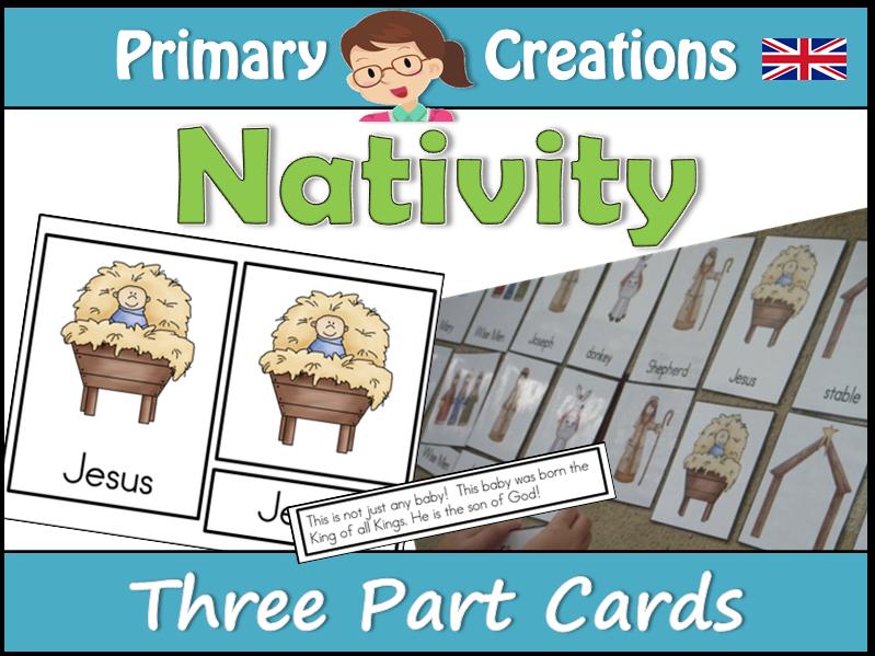 Christmas Nativity Three Part Cards (Montessori Nomenclature Cards) UK Edition