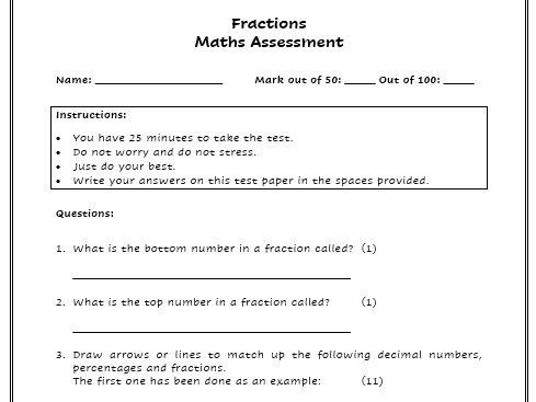 KS2 Fraction Assessment