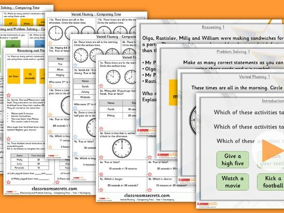 Year 1 Comparing Time Summer Block 6 Step 6 Lesson Pack