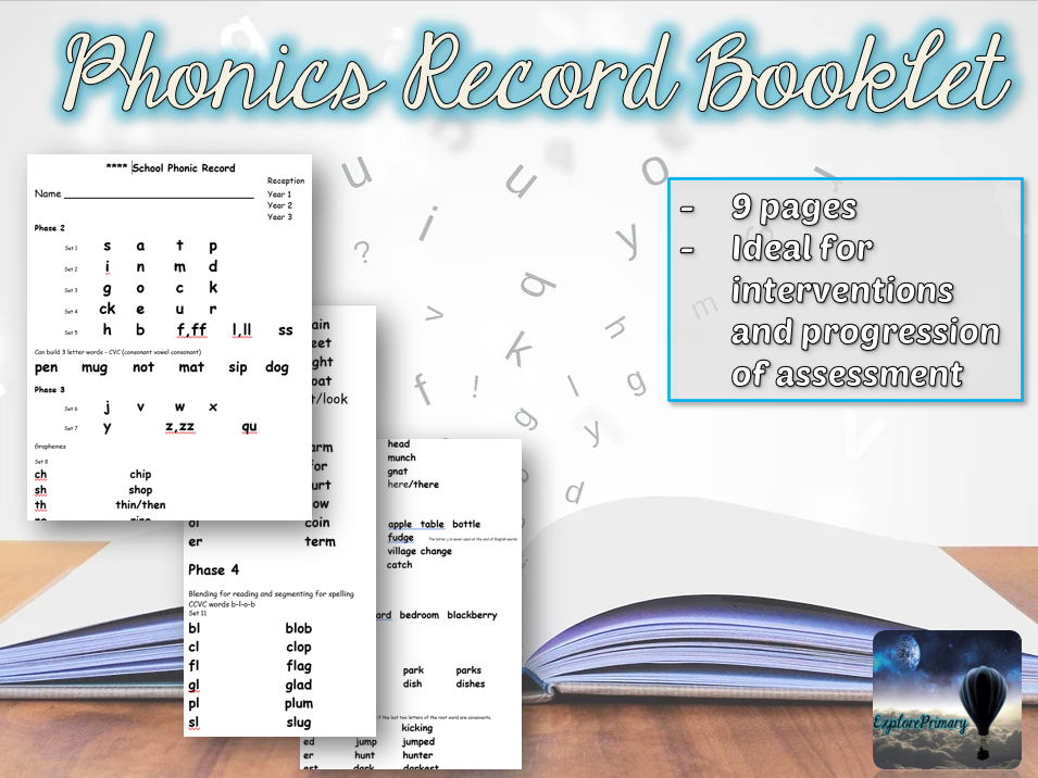 Phonics Assessment Record Booklet
