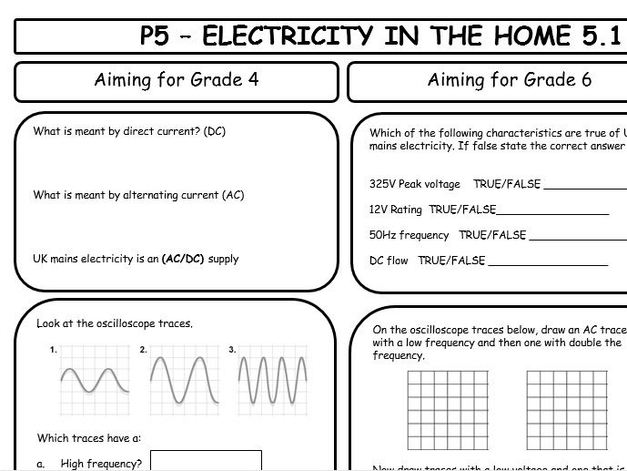 AQA GCSE 9-1 Physics P5 Revision Sheets (differentiated)