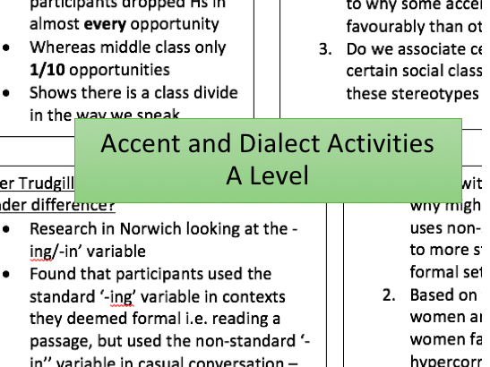 Accent and Dialect Activities | Theorists, Data Analysis, Practice Essay Writing