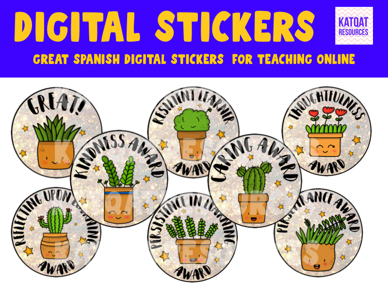 Cute Plants Digital Stickers For See Saw and Google Classroom - Reward