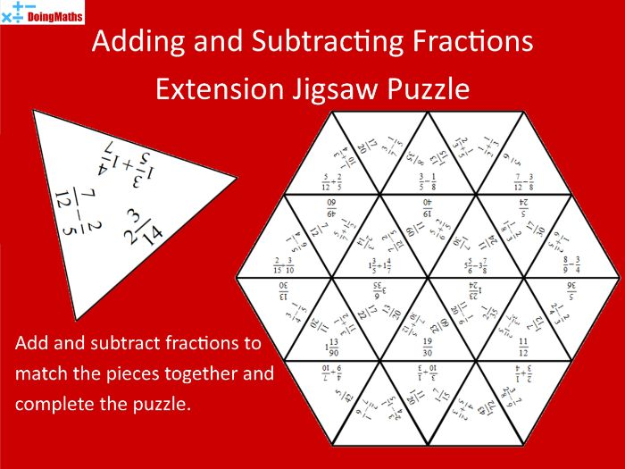 Adding and Subtracting Fractions Higher Practice Tarsia Jigsaw Puzzle