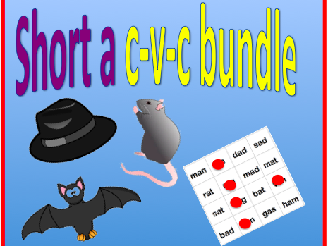 Short a cvc bundle - worksheet and bingo game