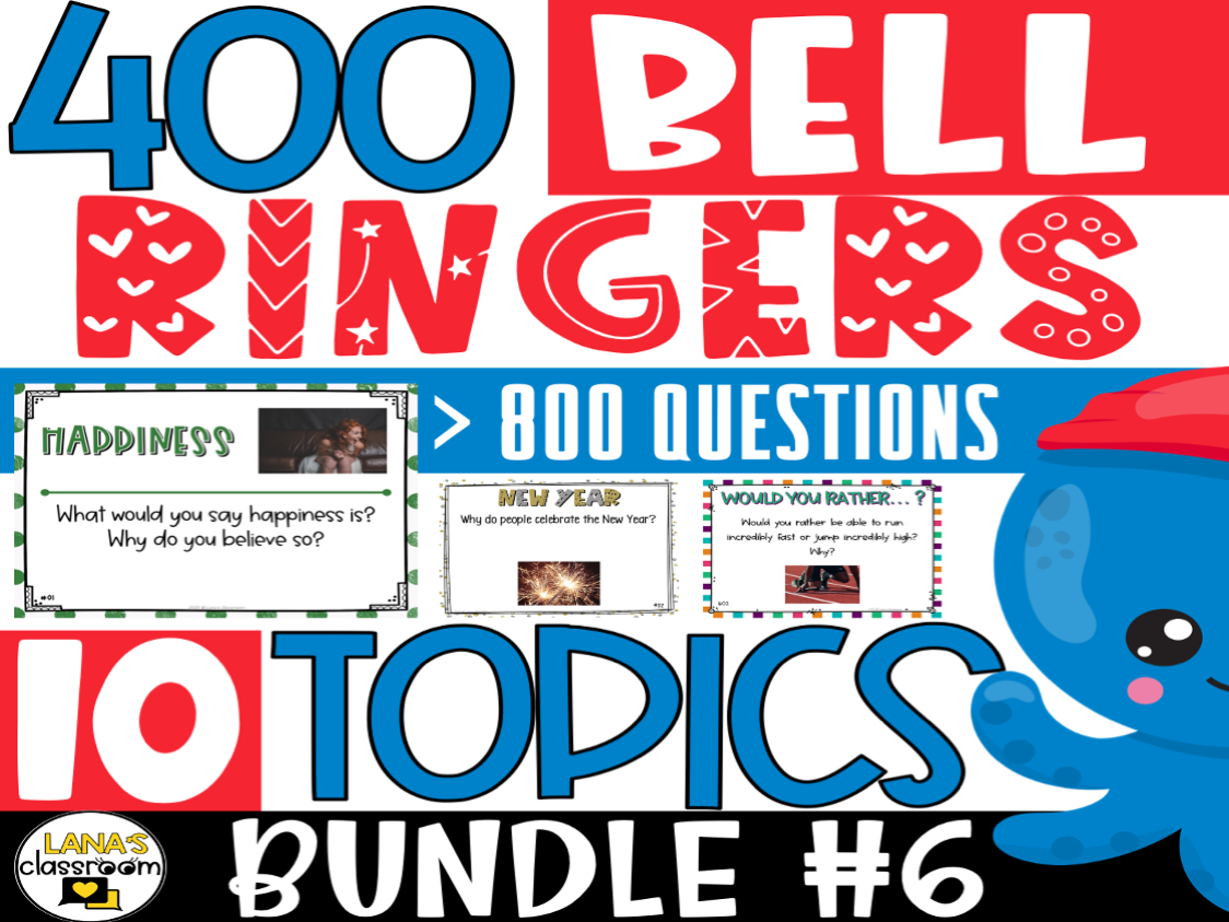 Bell Ringers Questions | BUNDLE#6 | Middle and High School
