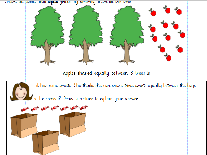 Sharing objects into equal groups Differentiated Worksheets Year1 (White Rose)