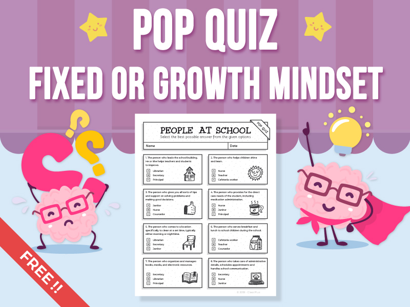 Pop Quiz - Fixed Mindset or Growth Mindset - FREEBIE