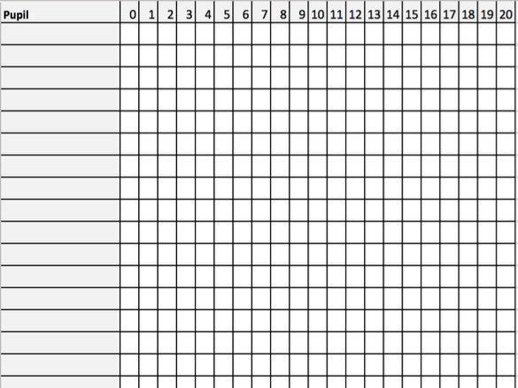 Number Recognition Assessment Grid 0-20