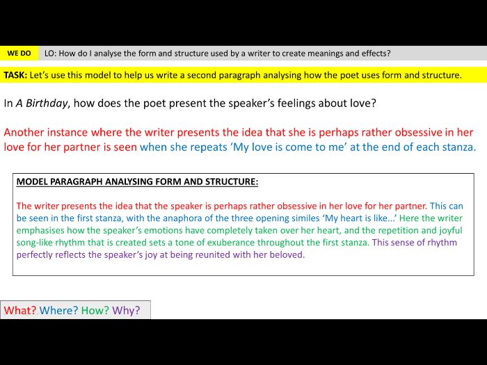 Unseen Poetry Lesson 3 Form And Structure Teaching Resources Read all poems for structure. unseen poetry lesson 3 form and