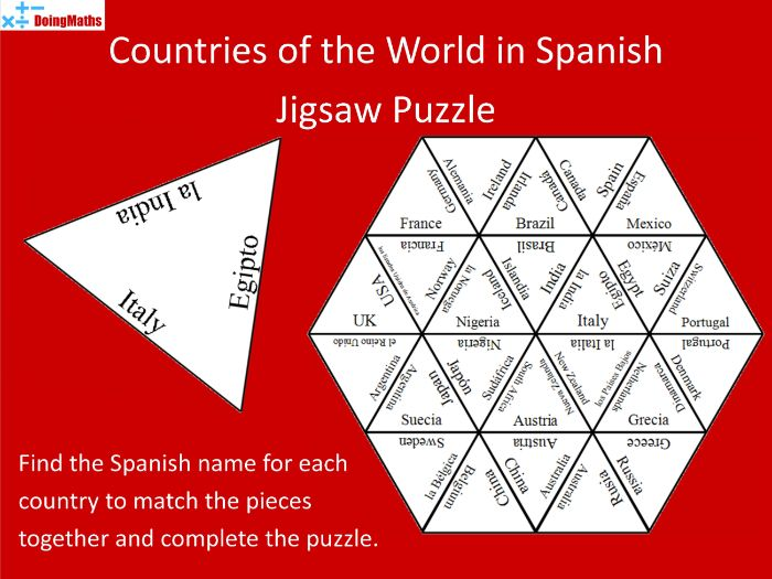 Spanish Vocabulary Jigsaw Puzzle - Countries of the World