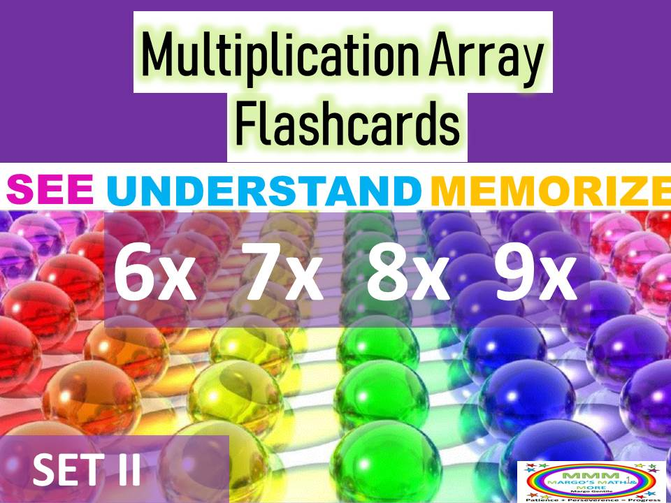 Multiplication Array Cards for Concept, Understanding,& Memorizing Set II