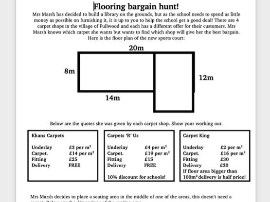 year 5/6 area challenge investigation