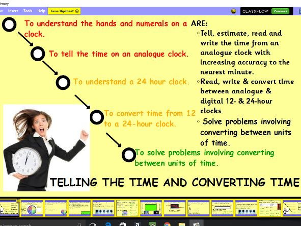 Telling the time, 12 and 24 hour clock and time converting problems lesson pack x 3