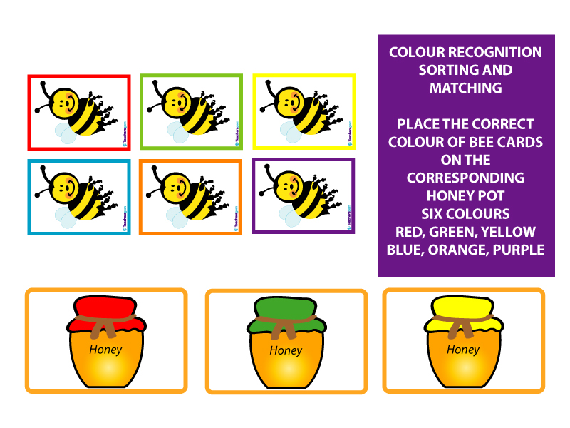 COLOUR SORTING AND MATCHING HONEY BEES - GOLDILOCKS AND THREE BEARS THEME