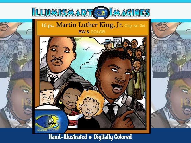 FREEBIE Martin Luther King, Jr. 16 pc. ClipArt Set 8 BW and 8 Color