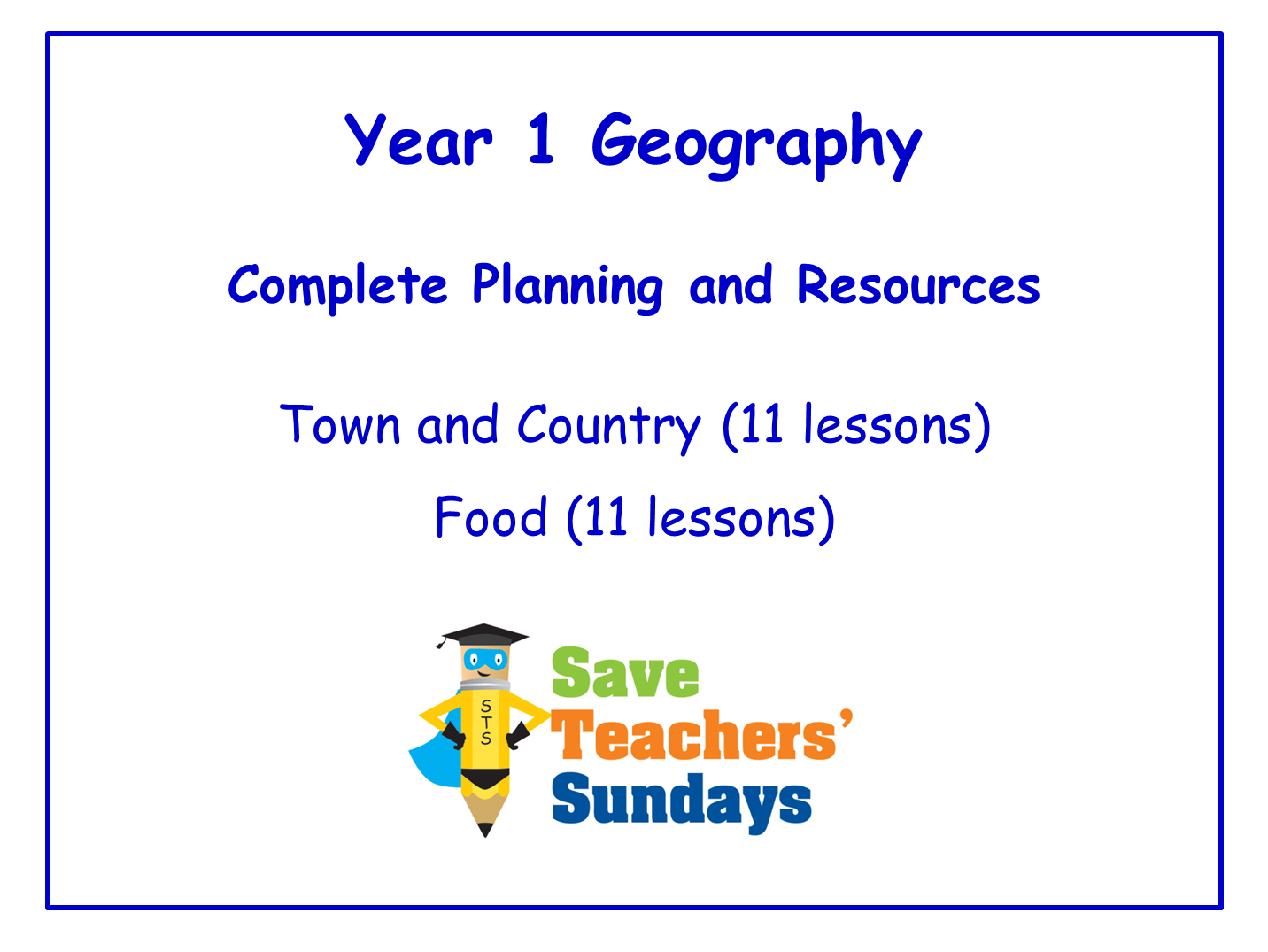 Year 1 Geography Planning and Resources
