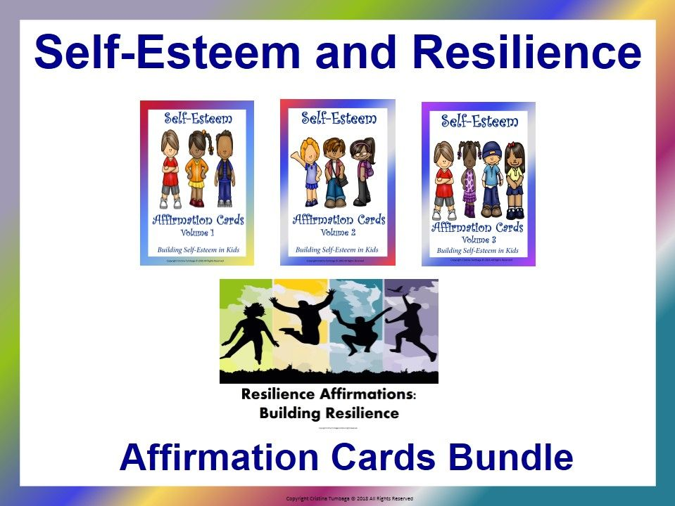 Self-Esteem and Resilience Affirmation Cards Bundle