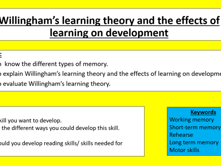 GCSE Edexcel Psychology (9-1): Topic 1: Development, Lesson 6: Willingham's learning theory