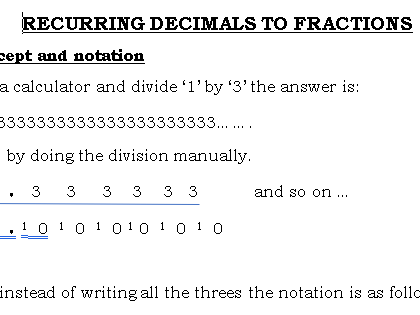 Recurring Decimals to Fractions GCSE (9-1)